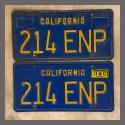 1970 - 1980 California YOM License Plates For Sale - Original Vintage Pair 214ENP