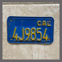 1970 - 1980 California YOM Motorcycle License Plate For Sale - 4J9854