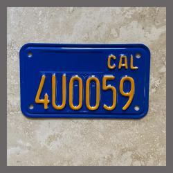 1970 - 1980 California YOM Restored Motorcycle License Plate For Sale - 4U0059