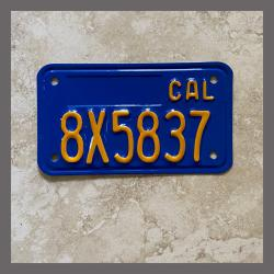 1970 - 1980 California YOM Restored Motorcycle License Plate For Sale - 8X5837
