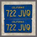 1970 - 1980 California YOM License Plates For Sale - Original Vintage Pair 722JVQ