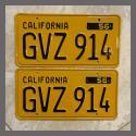 1956 California YOM License Plates For Sale - Restored Vintage Pair GVZ914