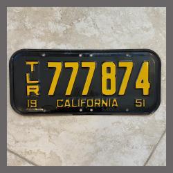 1951 California YOM Trailer License Plate For Sale - Original Vintage 777874