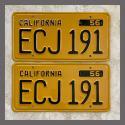 1956 California YOM License Plates For Sale - Restored Vintage Pair ECJ191