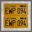 1956 California YOM License Plates For Sale - Restored Vintage Pair EWP094