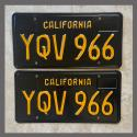 1963 California YOM License Plates For Sale - Restored Vintage Pair YQV966