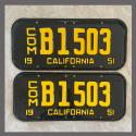 1951 California YOM License Plates For Sale - Restored Vintage Pair B1503
