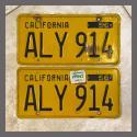 1956 California YOM License Plates For Sale - Original Vintage Pair ALY914