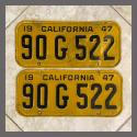 1947 California YOM License Plates Pair Original 90G522