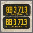 1951 California YOM License Plates For Sale - Original Vintage Pair 8B3713