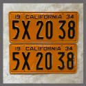 1934 California YOM License Plates For Sale - Repainted Vintage Pair 5X2038
