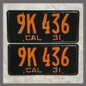 1931 California YOM License Plates For Sale - Repainted Vintage Pair 1934 California YOM License Plates For Sale - Resto