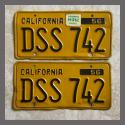 1956 California YOM License Plates For Sale - Original Vintage Pair DSS742