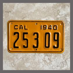 1940 California YOM Motorcycle License Plate For Sale - 25309
