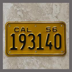 1956 California YOM Motorcycle License Plate For Sale - 193140