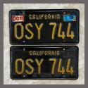 1963 California YOM License Plates For Sale - Original Vintage Pair OSY744
