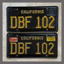1963 California YOM License Plates For Sale - Original Vintage Pair DBF102