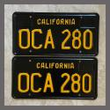 1963 California YOM License Plates For Sale - Restored Vintage Pair OCA280