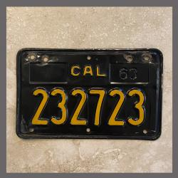 1963 California YOM Motorcycle License Plate For Sale - 232723