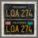 1963 California YOM License Plates For Sale - Original Vintage Pair LQA274