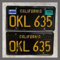 1963 California YOM License Plates For Sale - Original Vintage Pair OKL635