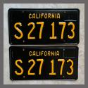 1963 California YOM License Plates For Sale - Restored Vintage Pair S27173 Truck