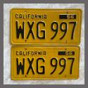 1956 California YOM License Plates For Sale - Original Vintage Pair WXG997
