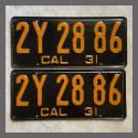 1931 California YOM License Plates For Sale - Original Pair 2Y2886