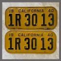 1940 California YOM License Plates For Sale - Original Vintage Pair 1R3013