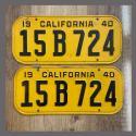 1940 California YOM License Plates For Sale - Original Vintage Pair 15B724