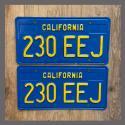 1970 - 1980 California YOM License Plates For Sale - Repainted Vintage Pair 230EEJ