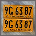 1932 California YOM License Plates For Sale - Restored Vintage Pair 9G6387