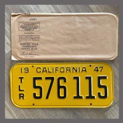1947 California Trailer License Plate For Sale - Original Vintage 576115 NOS