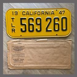 1947 California Trailer License Plate For Sale - Original Vintage 569260 NOS