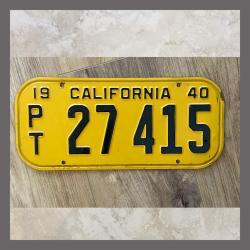 1940 California Trailer License Plate For Sale - Original Vintage 27415