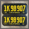 1951 California YOM License Plates For Sale - Original Vintage Pair 1K98907
