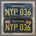 1963 California YOM License Plates For Sale - Original Vintage Pair NYP036
