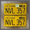 1956 California YOM License Plates For Sale - Original Vintage Pair NVL357