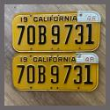 1947 California YOM License Plates Pair Original 70B9731