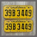 1947 California YOM License Plates Pair Original 39B3449