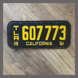 1951 California YOM Trailer License Plate For Sale - Original Vintage 607773
