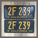 1933 California YOM License Plates Pair Original 2F239