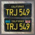 1963 California YOM License Plates For Sale - Original Vintage Pair TRJ549