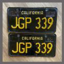 1963 California YOM License Plates For Sale - Original Vintage Pair JGP339