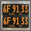 1931 California YOM License Plates For Sale - Restored Vintage Pair 6F9133