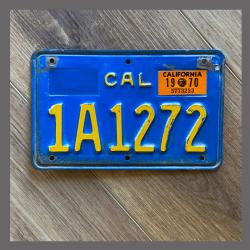 1970 - 1980 California YOM Motorcycle License Plate For Sale - 1A1272
