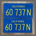 1970-1980 California YOM License Plates Pair Repainted 60737N Truck