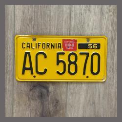 1956 California YOM Trailer License Plate For Sale - Original Vintage AC5870