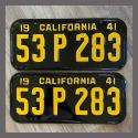 1941 California YOM License Plates For Sale - Restored Vintage Pair 53P283
