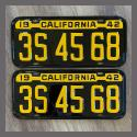 1942 California YOM License Plates For Sale - Restored Vintage Pair 3S4568